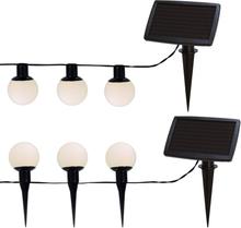Ljusslinga Vita bollar LED med solcell 6-ljus