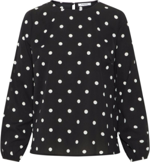 PIECES Dotted Long Sleeved Blouse Women Black