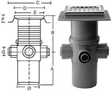 Purus komplet Afløbsskål t/Beton og klinkegulve - m/sideindløb 110 mm.