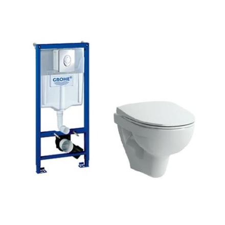 Komplett pakke med Laufen Pro vegghengt toalett og GROHE Solido Innbyggningssisterne