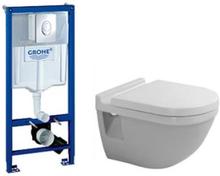 Komplett pakke m/GROHE-sisterne, Duravit Starck 3 vegghengt toalett og sete med dempet lukking.