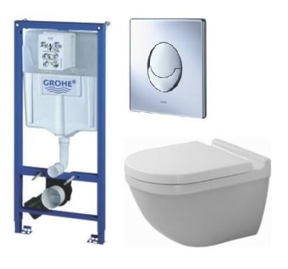 Komplett pakke m/ GROHE sisterne, Duravit Starck 3-toalett, Soft Close-sete, GROHE-betjeningsplate