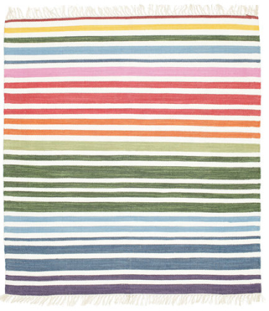 Rainbow Stripe - Vit matta 150x150 Modern, Kvadratisk Matta