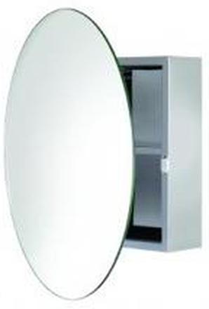 HeFe Severn Speilskap med rundt speil Ø50 cm, Rustfritt stål