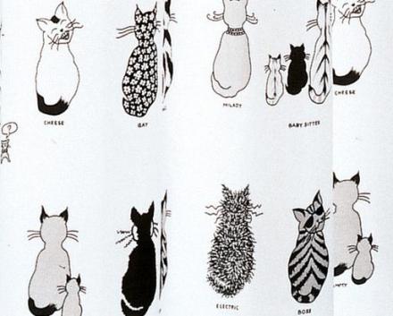 Hefe Cats Dusjforheng 180x200 cm, hvit med mønster