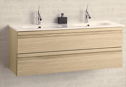 Dansani Zaro Møbelpakke 121 cm m/Skuffer & Dobbel vask, Sort Gummi