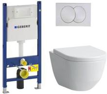 Komplett pakke m/Geberit Sisterne, Hvite trykknapper, Laufen Pro hengeskål og Softclose sete