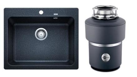 Blanco Naya 6 UX, Kjøkkenvask 61,5x51 cm, Silgranitt, inkl. Evolution 100 kjøkkenkvern