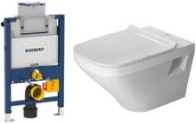 Komplett pakke m/Geberit Omega 82 cm sisterne, Duravit Durastyle toalett og softclose sete - uten betjeningsplate