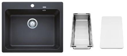 Blanco Naya 6 UX Kjøkkenvask 61,50x51 cm m/kurvventil, skjærebrett og skylleskål, Silgranit Antrasittgrå