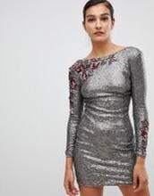 Little Mistress Långärmad klänning med paljetter - Mocha