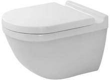 Duravit Starck 3 vägghängd utan spolkant, dold montering - vit - med toalettsits