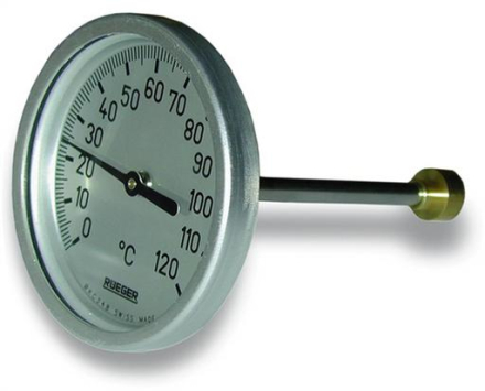 Skive termometer type TC 65 mm 0-120°C.