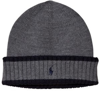 Ralph Lauren Grey and Navy Knit Hat with PP 5-6 years