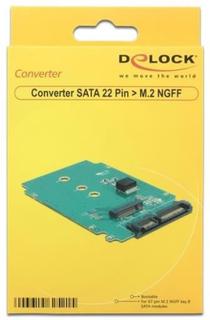 Delock adapter, gränssnittskonverterare, 22-pin sata till m.