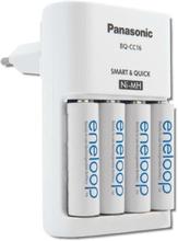 Panasonic Eneloop Lynoplader inkl. 4 stk. AA batterier, Hvid