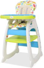 vidaXL 3-i-1 Konvertibel barnstol med bord blå och grön