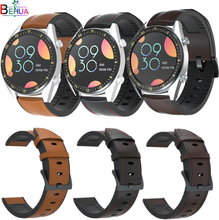 22mm silicone +Leather Straps Watchband Wristband For Samsung Gear S3/For Huawei Watch GT GT2 /Amazfit GTR 47mm Smart Wriststrap