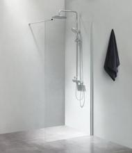 Cassøe SLIM brusevæg 90 cm med 100 cm forhængsstang, blank profil og klart glas