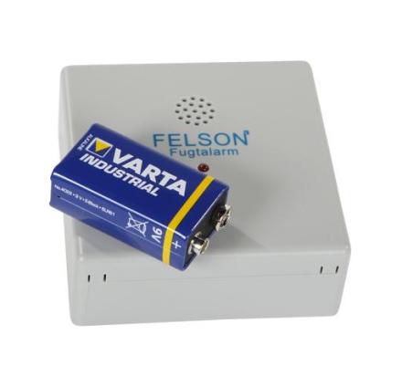 Felson fugtalarm med alkaline batteri i grå