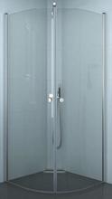 Dansani Match afrundet brusehjørne 80 x 80 cm med satin profil og klart glas - Model 7