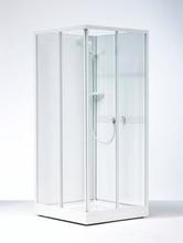 Ifø Next NKH brusekabine 90 x 70 cm med hvidlakeret profil og mønstret styren glas