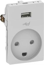 LK Fuga Stikkontakt med jord og 5V USB lader, 1½ modul, Lysegrå