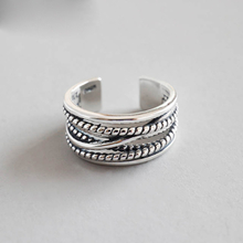 Real Pure 925 Sterling Silver Jewelry Vintage Layered Large Rings for Women Wedding Finger Open Ring Anillos Anelli