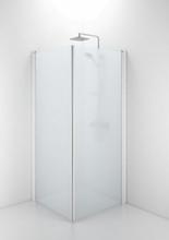 Ifö Space rett dør m/håndtaksprofil 90 cm, Frosset glass/Hvit profil - Kun 1 dør