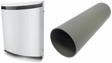 Bosch udvendig hvid metal skærm og Ventilationskanal til Vent 2000 D startpakken