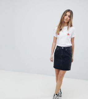 ASOS DESIGN Petite denim original high waisted skirt in washed black - Washed black
