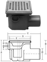 Purus komplet Afløbsskål t/Beton og klinkegulve - m/sideindløb 75 mm.