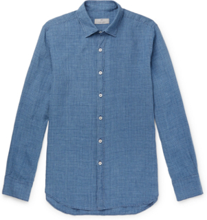 Puppytooth Prince Of Wales Checked Linen Shirt - Navy