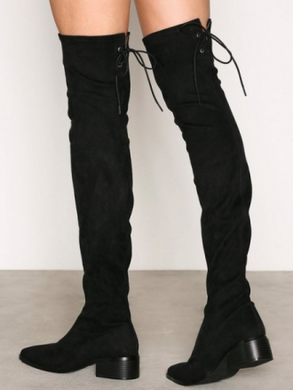 Thigh-high - Svart NLY Shoes Pointy Flat Thigh High Boot