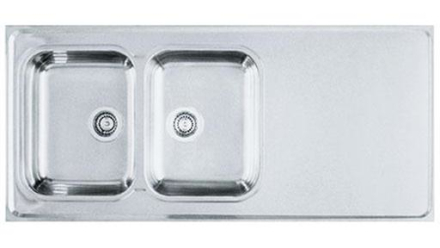 Franke De Luxe H14 heltäckande diskbänk i rostfritt stål, 140x60 cm, 2 hoar, vändbar