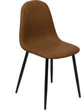 Frej matstol brun konsläder med svarta ben (Leverans från V 28, 2020)