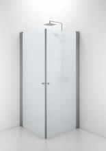 Ifö Space rak dörr m/knoppgrepp 100 cm, frostat glas/matt alu profil - Endast 1 dörr