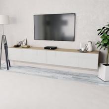 vidaXL TV-bänkar 2 st spånskiva 120x40x34 cm vit högglans ek