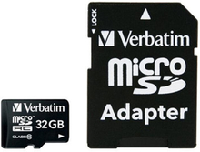 Verbatim Premium microSDHC Class 10 Hukommelseskort m. 32GB & Kamera Adaptor