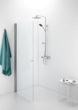 IDO Showerama 10-01 duschdörr, rak, 70 cm, med borstade aluminiumsprofiler och klarglas