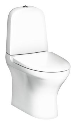 Gustavsberg Estetic 8300 golvstående toalett, p-lås, för limning, m/hygienic flush, ceramicplus samt soft close & quick release sits - Matt vit