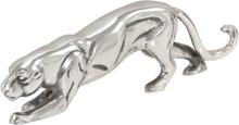 vidaXL Panterskulptur solid aluminium 40x5x11 cm sølv