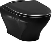Gustavsberg Estetic 8330 vägghängd toalett, svart m/soft close & quick release sits