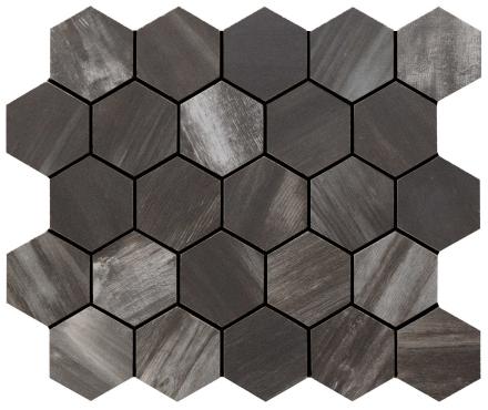 klinker wood on fire dark hexagon mosaik