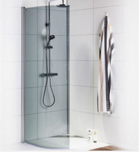 Noro Ice Focus duschvägg, 80 cm, bockad, rökfärgat glas