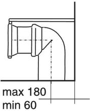 IDO 90° avloppskrök, rak avloppsdel. 110/125 mm samt fäste till bakvägg.