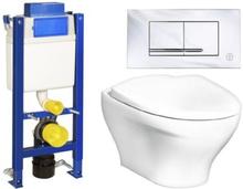 Gustavsberg vägghängt toalettpaket inkl. Estetic toalett, Trimont XS cistern & rostfri spolknapp