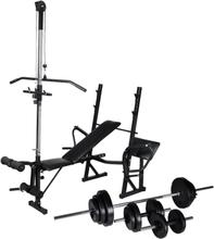 vidaXL Träningsbänk set med viktställning skivstång och hantlar 30,5kg