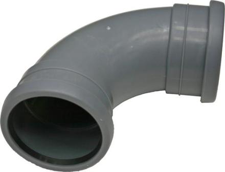 Avloppsböj 90° PP Långböj 75mm m/2 muff