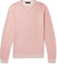 Waffle-knit Mélange Cotton, Cashmere, Silk And Linen-blend Sweater - Pink